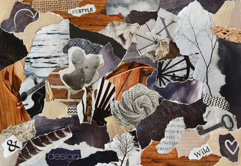 Back brown collage moodboard with zen nature concept