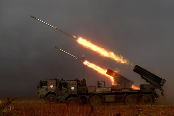 Indonesian Marines fire rockets from RM-70 Vampire during a drill at Banongan beach in Situbondo