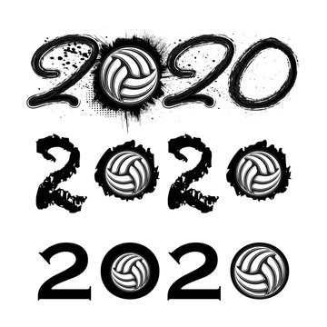 Three black grunge 2020 numbers with volleyball symbols