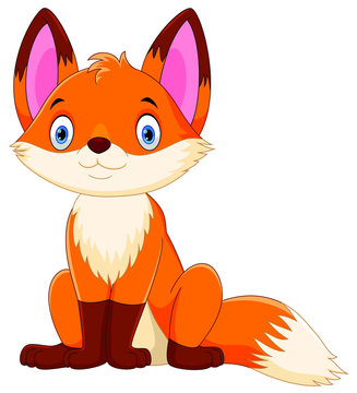 Cute fox cartoon isolated on white background