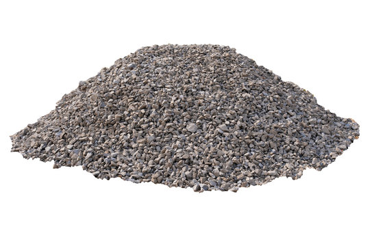Construction rubble, building materials in a pile on a white background