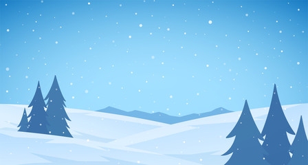 Cartoon Winter snowy Mountains flat landscape with pines and hills. Blue Christmas background