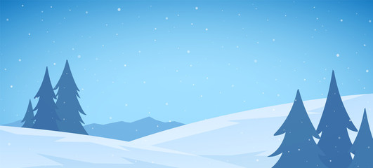 Cartoon Winter snowy Mountains flat landscape with pines and hills. Christmas background