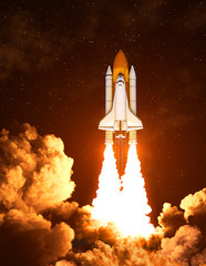 Fotobehang - Night Launch Of The American Space Shuttle