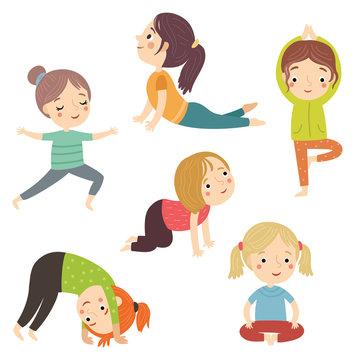 girls doing yoga vector character set