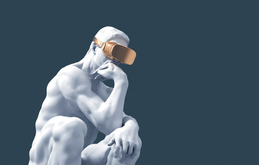 Sculpture Thinker With Golden VR Glasses On Blue Background