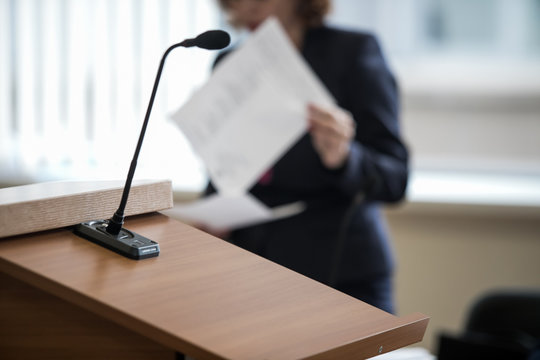 microphone in the courtroom of the Russian court