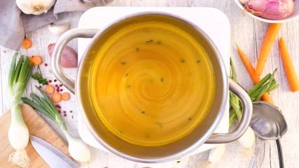 Fotobehang - vegetable soup and ingredient