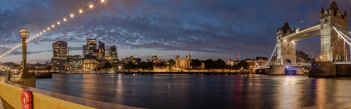 Blue hour panorama of Tower Bridge London
