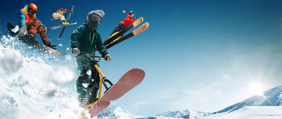 Skiing, snow scoot, snowboarding. Extreme winter sports.