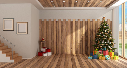 Wooden room with Christmas tree