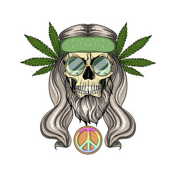 Hippie skull with hair