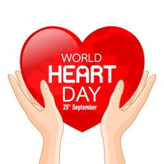 Human hands with globe in heart shape. World heart day in red heart. Health care concept. Illustration isolated on white background.