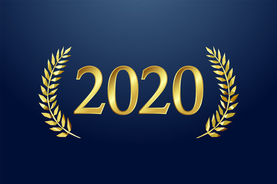 2020 awards logotype, isolated elegant abstract gold emblem. Happy New Year luxurious congratulating framed template. Class of 2020 graduates poster with golden stained glass greetings