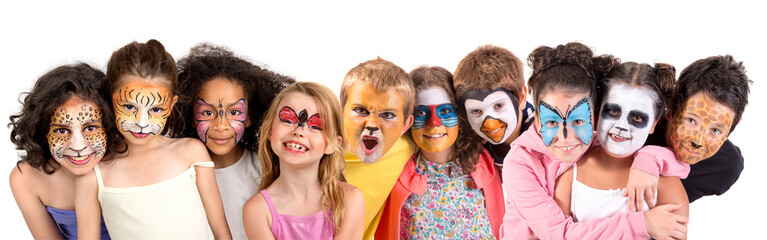 Kids with face-paint Wall mural