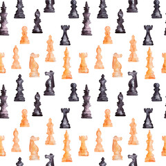 Watercolor background picture Chess pieces