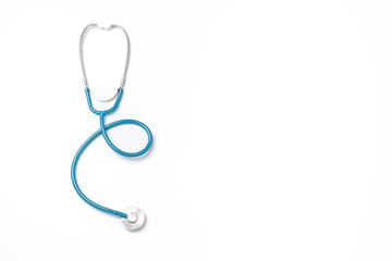 Green stethoscope, object of doctor equipment, isolated on white background. Medical design concept, cut out, clipping path, top view, studio shot.