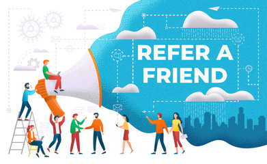 Announcement through megaphone vector, refer friend. People working together, cityscape with skyscrapers and town view. Marketing and promotion flat style. Invite friends. Share unique referral link