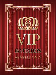 Vip invitation vector, crown and royal signs service for members only. Frame with golden elements, bokeh and red curtain, shining decoration glowing. Red curtain theater background