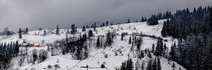 Carpathian village in winter. Vorokhta, Ivano-Frankivsk region, Ukraine