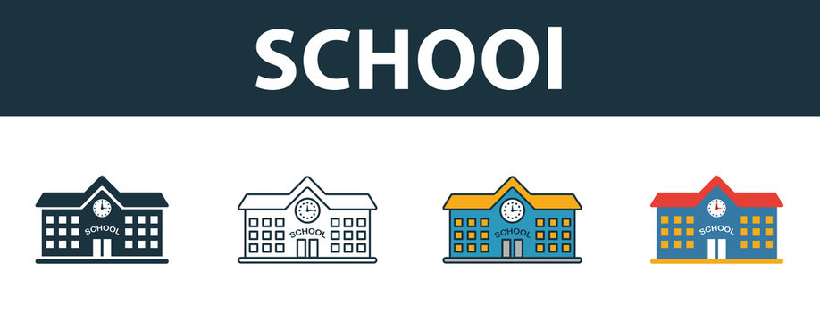 School icon set. Four elements in diferent styles from school icons collection. Creative school icons filled, outline, colored and flat symbols
