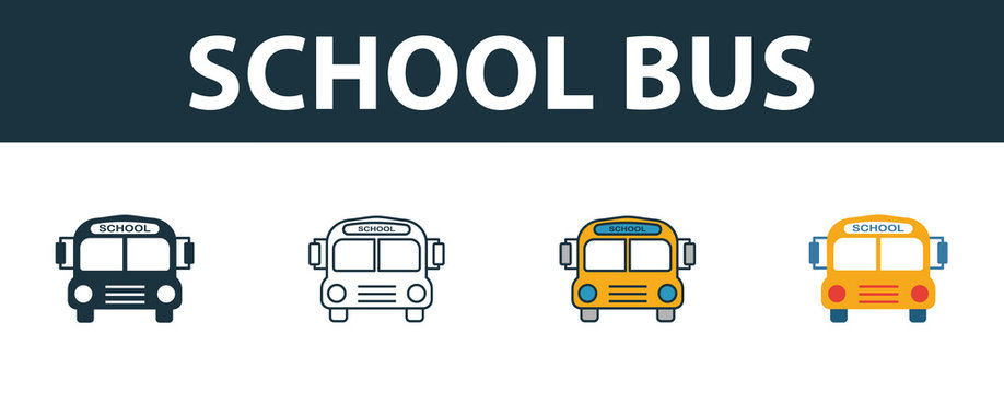 School Bus icon set. Four elements in diferent styles from school icons collection. Creative school bus icons filled, outline, colored and flat symbols