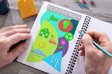 Eco friendly concept on a notepad Wall mural