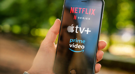 AACHEN, GERMANY - 10. September 2019 : Video Streaming apps like Apple TV plus, amazon prime and netflix on Apple iPhone.