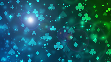Poker abstract casino bokeh pattern of chaotic playing cards icons in space.