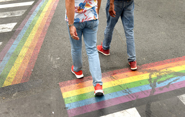 zebra crossing and a rainbow flag on the road. lgbt
