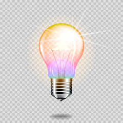 Wall Mural - Realistic transparent light bulb with christmas tree, isolated.