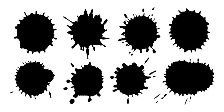 Vector set of hand-drawn paint splatters isolated on white background.