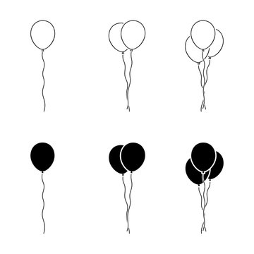 Black and white balloon icon sign symbol outline vector pictogram. Birthday party graphic design elements flat simple style illustration