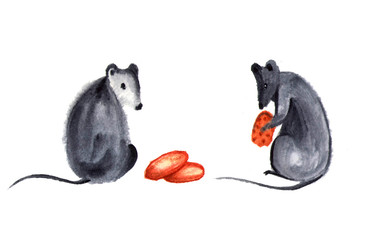 Set of cute little mouse or rat with spikelet, cheese and nuts. Watercolor mouse illustration for design, holidays, Chinese new year. Isolated on white