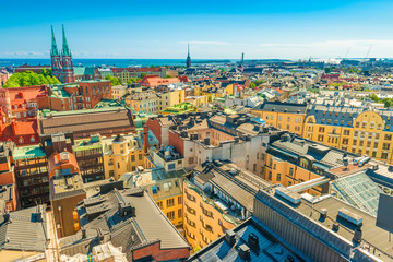 Panoramic view of Helsinki on a sunny, summer day, Finland