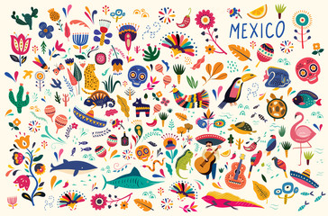 Mexican decorative vector pattern. Map of Mexico with traditional symbols and decorative elements. Wall mural