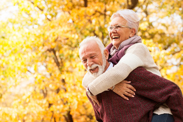 Portrait of laughing senior couple