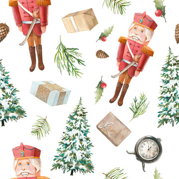 Watercolor Nutcracker seamless pattern. Christmas wallpaper in vintage style. Wooden toy, fir, pinecone, gift box, christmas tree on white background