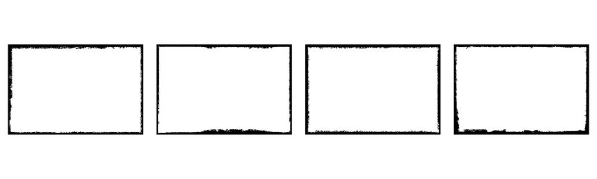 Set of grunge style frames black on white background