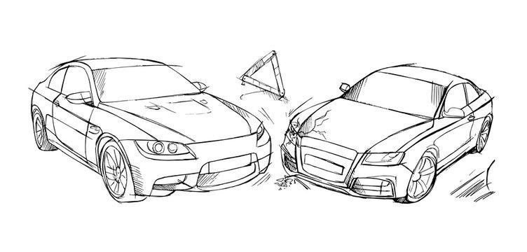 Accident. Car damage. Insurance case. Hand drawn illustration