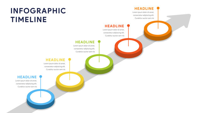 Infographic elements for content, diagram, flowchart, steps, parts, timeline, workflow, chart with five options. Vector illustration