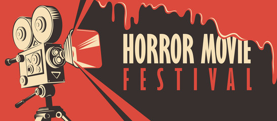 Vector banner for festival horror movie. Illustration with an old movie projector and streaks of blood. Scary cinema. Horror film night. Suitable for poster, flyer, billboard, web design, tickets