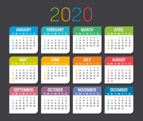 Year 2020 calendar vector template