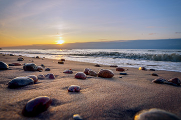 Colorful sunrise over the sea. Nature composition. Concept: holiday or calendar and picture postcards