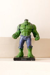 Toy Hulk model from low angle