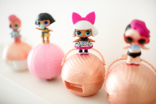 Row of cute different little L.O.L. baby dolls
