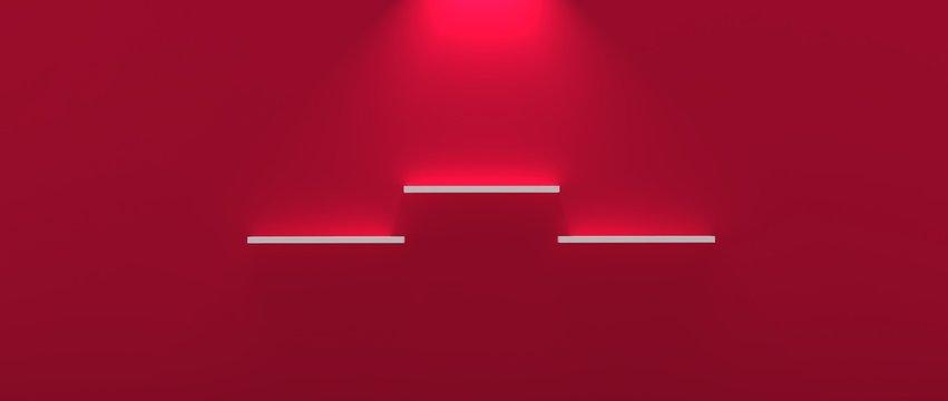 Diseño de repisa tridimensional con iluminación y diferentes niveles. Fondo con materiales plásticos, madera, metálicos y mosaicos de piedras y mármol. Fondo 3d con luces y sombras