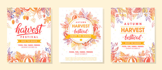 Bundle of autumn harvest festival banners with harvest symbols,leaves and floral element.Harvest fest design perfect for prints,flyers,banners,invitations and more.Vector autumn illustration. Fototapete