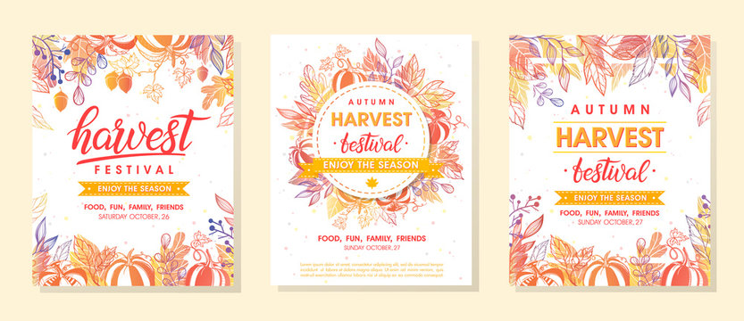 Bundle of autumn harvest festival banners with harvest symbols,leaves and floral element.Harvest fest design perfect for prints,flyers,banners,invitations and more.Vector autumn illustration.
