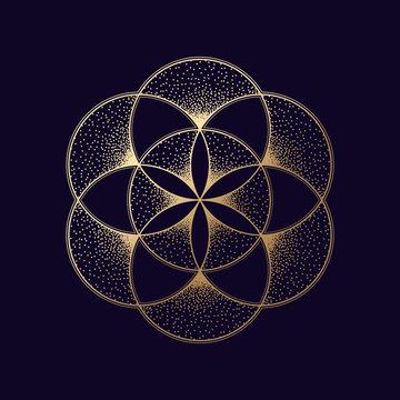 Flower of life symbol. Gold geometric symbol. Vector illustration EPS 10